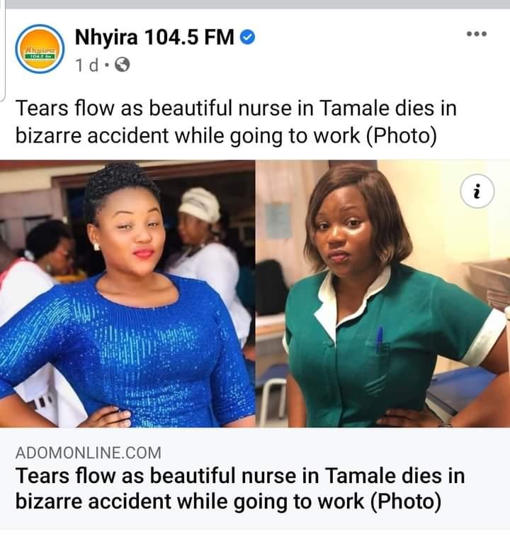 Nurse dies on her way to work