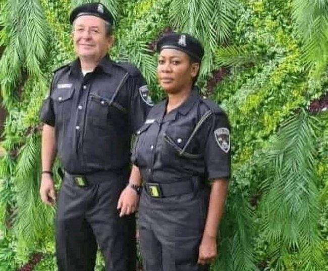 A white man joins Nigeria police