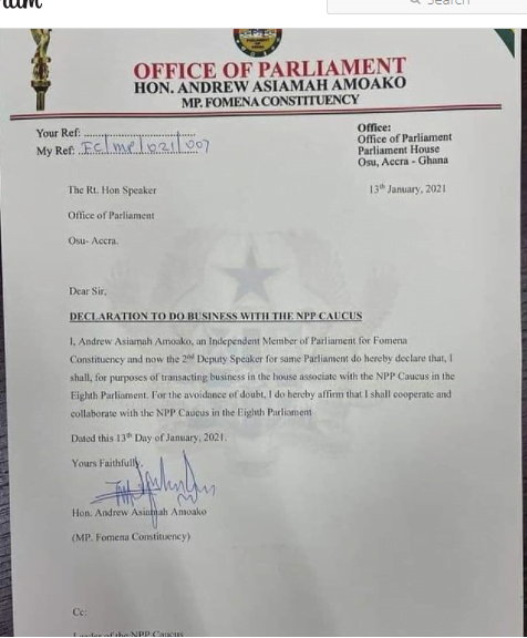 Fomena Mp, Hon. Andrews Asiamah confirms working with the NPP in Parliament