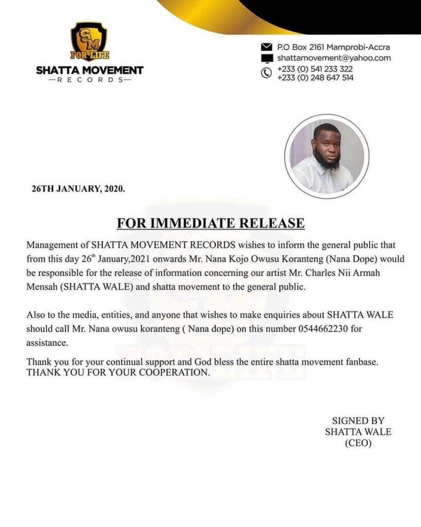 Shatta Wale sacks Bulldog - Reveals new Manager - Screenshot