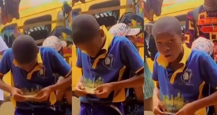 An underage student caught rolling weed to smoke - watch video