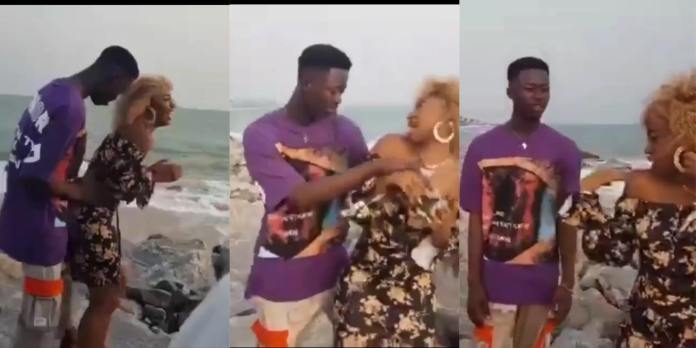 Video Vixen angrily quits video shoot after artiste pressed her b()()bs in a new video